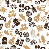 picture of mollusca  - set of food allergens for restaurants seamless pattern eps10 - JPG