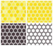 image of geometric  - Honeycomb seamless pattern set - JPG