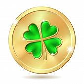 stock photo of clover  - Golden coin with four leaf clover - JPG