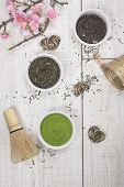 picture of black tea  - Different types of Japanese green tea leaves and powder green tea - JPG