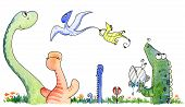 stock photo of apatosaurus  - Watercolor of cute funny group of strange animals from the jurassic age - JPG
