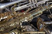 foto of musical instrument string  - a few metal Musical Instruments in detail  - JPG