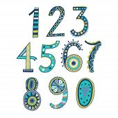 pic of zero  - Whimsical hand drawn numbers from one to zero - JPG