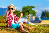 stock photo of meadows  - happy fashionable kid - JPG