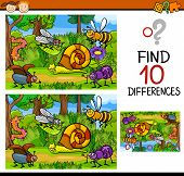 stock photo of observed  - Cartoon Illustration of Finding Differences Educational Game for Preschool Children - JPG