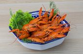 stock photo of boil  - Boiled crayfish in the bowl with dill - JPG
