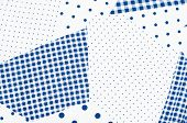 stock photo of asymmetric  - Blue and white asymmetric square and dots design as background on fabric - JPG