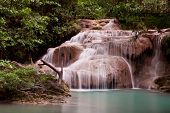 stock photo of waterfalls  - Erawan waterfall is one of the names of Kanchanaburi - JPG