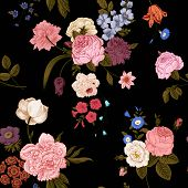 picture of vivid  - Seamless vector vintage pattern with Victorian bouquet of vivid flowers on a black background - JPG