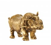 pic of metal sculpture  - Rhinoceros rhino sculpture made of cast metal isolated over white background - JPG