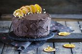 picture of orange  - Extra chocolate cake on a dark beer with oranges - JPG