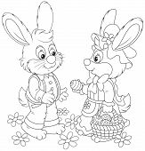 stock photo of cony  - Little rabbits with a basket of Easter eggs - JPG