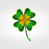 picture of four leaf clover  - Four leaf clover on the striped background for the Saint Patrick - JPG