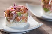 pic of catering  - trundle in detail dish food catering and blur background - JPG