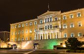 stock photo of evzon  - Hellenic Parliament at night  - JPG
