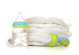 pic of nipples  - New born child stack of diapers nipple soother baby feeding milk bottle with water on a white background - JPG