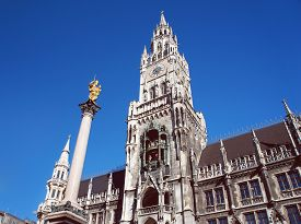 stock photo of munich residence  - New city hall of Munich and Mariensaeule - JPG