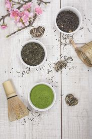 image of black tea  - Different types of Japanese green tea leaves and powder green tea - JPG