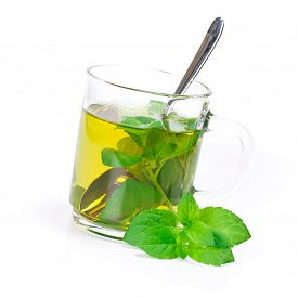 pic of peppermint  - glas of peppermint tea isolated on white - JPG