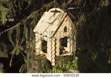 the bird feeder on the tree
