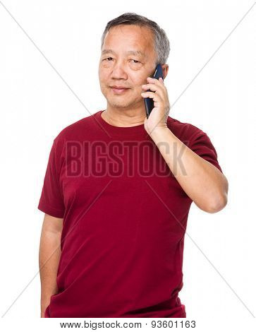 Asian old man use of smartphone
