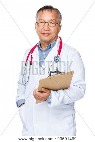 Asian doctor with holding clipboard