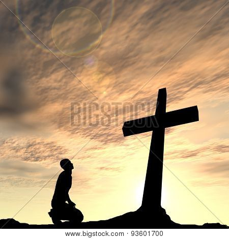 Concept conceptual black cross or religion symbol man silhouette in rocks over a sunset sky with sunlight clouds background
