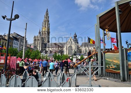 Antwerp, Belgium - May 10, 2015: People Visit Thailand Festival At Groenplaats of Antwerp