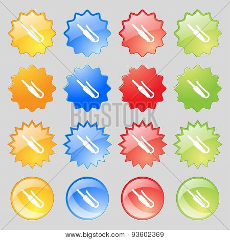 Plug, Mini Jack Icon Sign. Set From Fourteen Multi-colored Glass Buttons With Place For Text. Vector