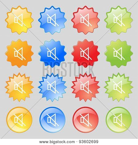 Without Sound, Mute Icon Sign. Set From Fourteen Multi-colored Glass Buttons With Place For Text. Ve