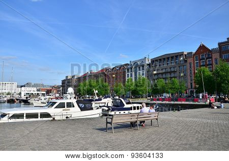 Antwerp, Belgium - May 10, 2015: Yachts Moored In The Willem Dock In Antwerp, Belgium.