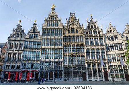 Antwerp, Belgium - May 10, 2015: Tourist Visit The Grand Place (grote Markt) In Antwerp, Belgium.