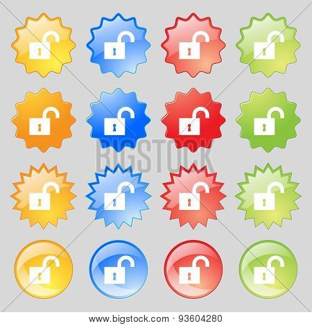 Open Lock Icon Sign. Set From Fourteen Multi-colored Glass Buttons With Place For Text. Vector