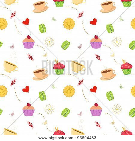 Hand drawn seamless pattern with cupcakes, macaroons and teacups