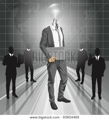 Vector Idea and concept. Lamp head business man with laptop in his hands. All layers well organized and easy to edit