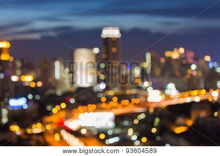 Blur light of City road, defocused background