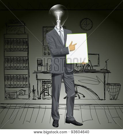 Vector lamp head businessman holding empty write board in his hands