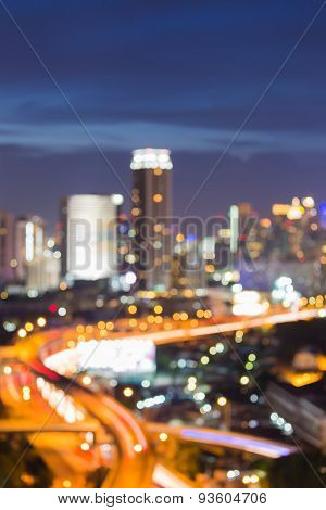 City road night lights background, defocused background