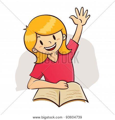 Girl Raising Hand While Study