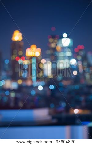 Beautiful of abstract blur bokeh cityscape lights background