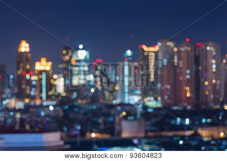 Abstract blur city lights skyline during twiligh