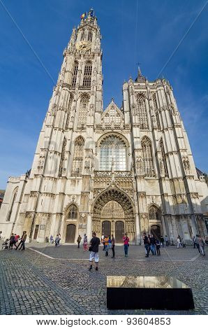 Antwerp, Belgium - May 10, 2015: Tourist Visit Cathedral Of Our Lady In Antwerp, Belgium.