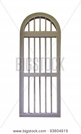 Brown Window With Steel Bars Isolated