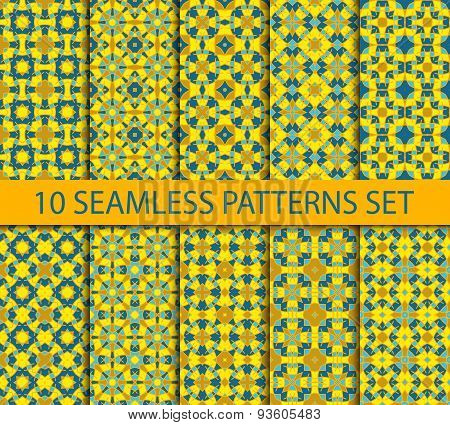 Set of chinese seamless patterns with gold on blue.