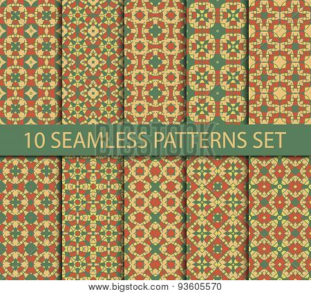 Set of asian seamless patterns in summer colors