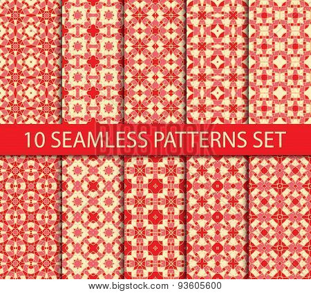 Set of unrepeatable seamless patterns of japanese tradition.