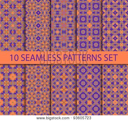 Set of oriental seamless patterns in purple colors on a coral