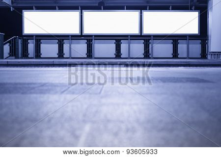 Blank Banner Neon Box Media Display Sign In Subway Platform