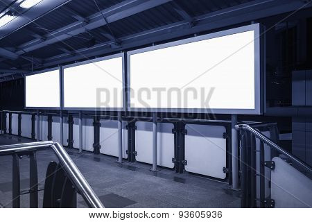 Blank Banner Neon Box Media Display Sign In Subway Station Perspective