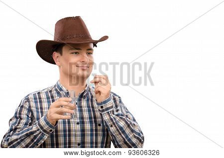 Cowboy with pill and glass of water